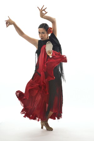 bailando flamenco: Típico gitana española con clavel y ventilador bailando Sevillanas.