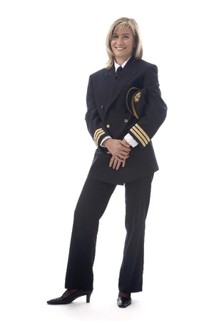 Office uniforms: Mujer piloto  Foto de archivo