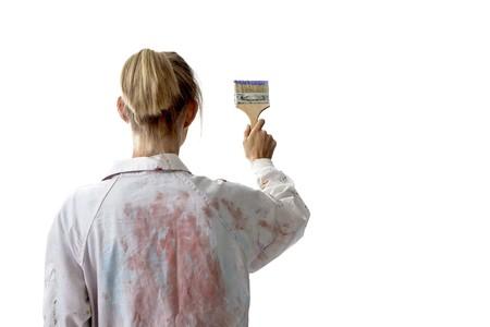 Painter woman Stock Photo