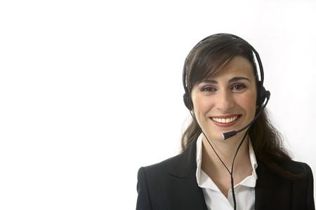 teleoperator: Latin looking smiling Teleoperator.