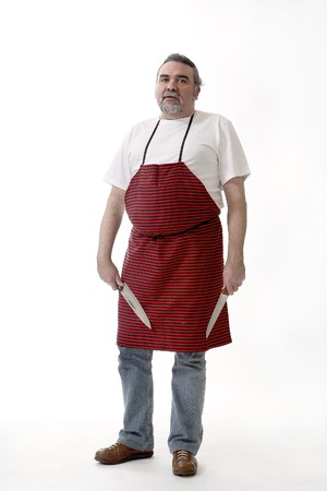Butcher with red apron