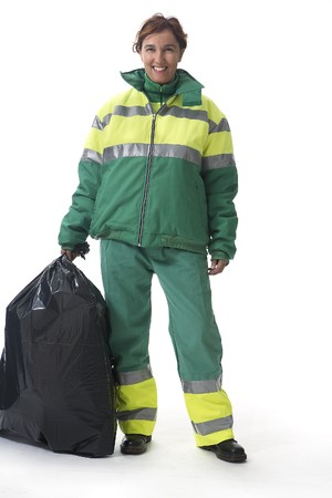 public waste: Dustman, Refuse Collector Stock Photo
