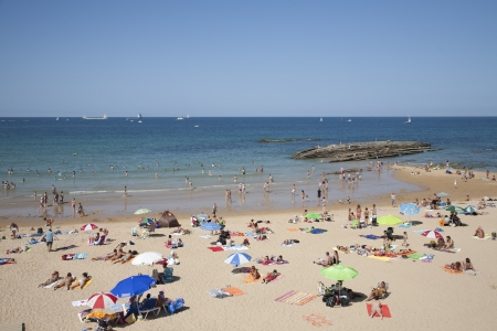 crowded space: Beaches of Santander, Spain