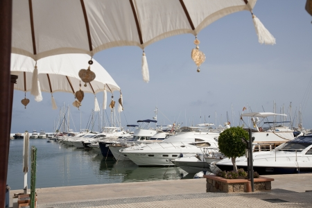 beach cruiser: Marina Santa Eulalia, Ibiza, Balearic Islands, Spain. Yatchs on the dock .  Editorial