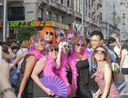 outrageous: July 3rd, 2010, Madrid. Gay Pride. People parading along Gran V�a, celebrating Gay Pride, Madrid, Spain. Editorial