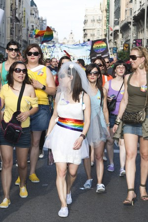 July 3rd, 2010, Madrid. Gay Pride. People parading along Gran Vía, celebrating Gay Pride, Madrid, Spain. Stock Photo - 7840378