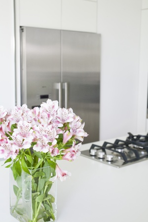 countertop: Partial view of modern white kitchen decorated in white with large double door fridge and home appliances of stainless steel.