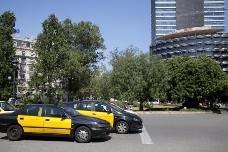 Traffic at Francesc Macia square, Barcelona, Spain