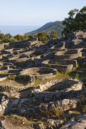 galizia: Luglio 2009. Castro de Santa Tecla, Celtic rovine, Laguardia, Galizia, Spagna. Editoriali