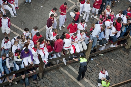 July 8th, 2009, Pamplona. General view of runners along the Mercaderes Street, before the start of the running of the bulls, during Saint Fermin celebrations. Pamplona, Navarra, Spain. Stock Photo - 9638159