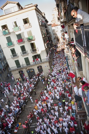 navarra: July 8th, 2009, Pamplona. General view of runners along the Mercaderes Street, before the start of the running of the bulls, during Saint Fermin celebrations. Pamplona, Navarra, Spain.