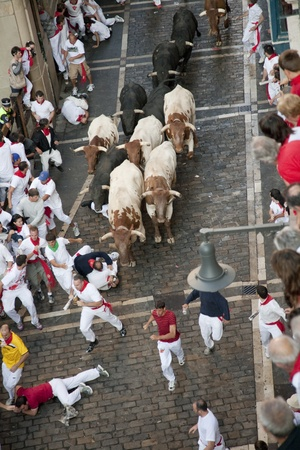 bullfights: July 8th, 2009, Pamplona. Running of the bulls during  Saint Fermin celebrations. Pamplona, Navarra, Spain. One of the most popular local holidays in Spain.