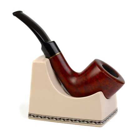 Smoking pipe isolated on white photo