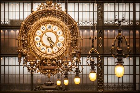 france station: Wall clock at Orsay Museum