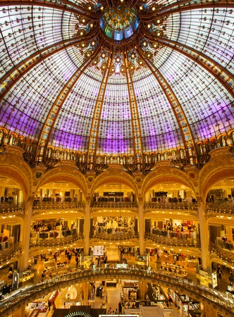 lafayette: Interior of the famous department store Galeries Lafayette in Paris