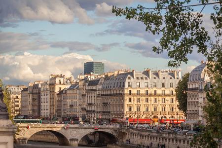 michel: View of Quai des Grands Augustins and Saint Michel bridge, Paris Editorial