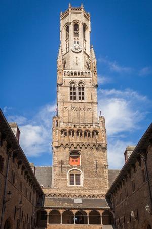 Belfort, a medieval belfry tower in Bruges, Belgium Stock Photo