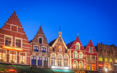 Colorful houses in Market Square, Bruges, Belgium Stock Photo