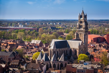 Aerial view of Church of St  Salvador  Bruges Stock Photo