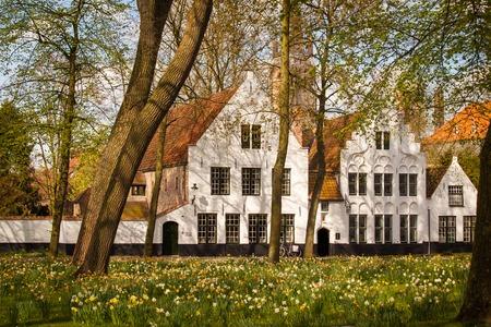 View of the Begijnhof in Bruges, Belgium