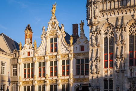 Detail of the City Hall of Bruges, Belgium