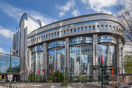 The building of the European Parliament in Brussels, Belgium