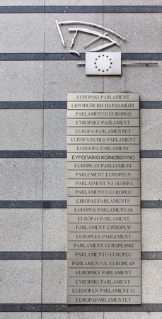 belgique: European Parliament written in all the languages from the European Union, Brussels, Belgium  Editorial