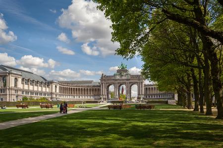 The Triumphal Arch in Cinquantennaire Parc in Brussels , Belgium Editorial