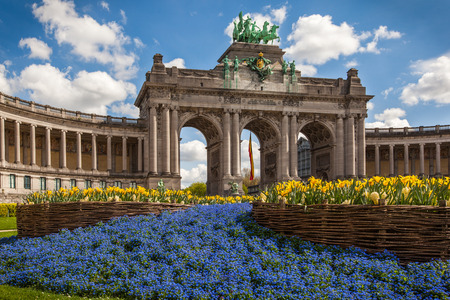 The Triumphal Arch in Cinquantennaire Parc in Brussels , Belgium Stock Photo