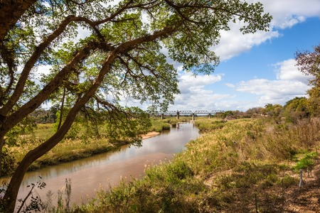 African Landscape with Sabie Sand River near the Shukuza Rest Camp, Kruger National Park, South Africa Stock Photo