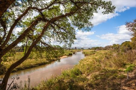 sabie sand: African Landscape with Sabie Sand River near the Shukuza Rest Camp, Kruger National Park, South Africa Stock Photo