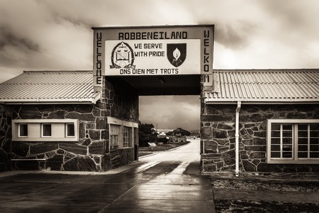 deprived: Entrance to Robben Island (South Africa) Prison where Nelson Mandela was held captive