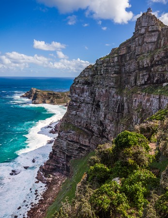 cape of good hope: View of Cape Point, South Africa, with the old lighhouse and Cape of Good Hope Stock Photo