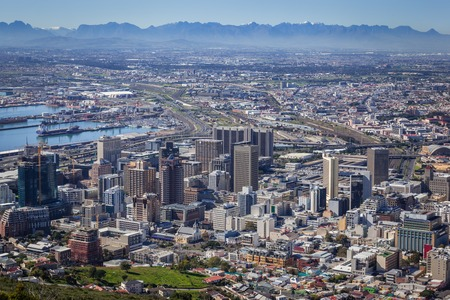 africa: View of City Bowl and Business District of Cape Town, South Africa