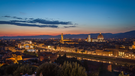 Florence after sunset from Michelangelo square: Ponte Vecchio, Arno River, church of Santa Maria Novella, beautiful sky, hills in distance Reklamní fotografie
