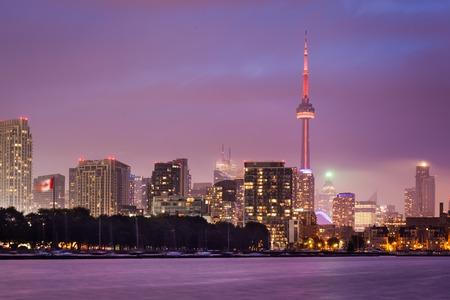 Of Toronto Skyline at twilight Editorial