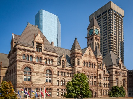 View of the old City Hall of Toronto, Canada against moder buildings