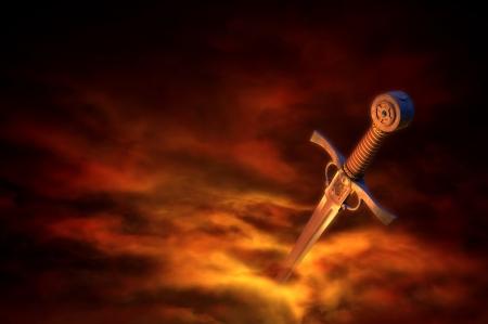 espadas medievales: Ilustración 3D de una espada medieval en el humo del fuego