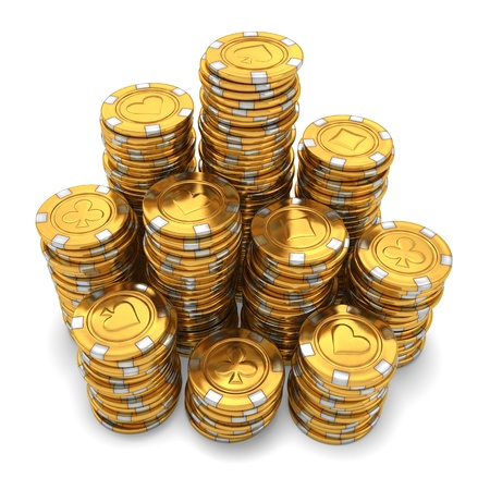 3d rendering of large stacks of gold casino chips on white background