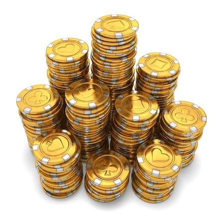 fichas casino: Representaci�n 3D de grandes pilas de fichas de casino de oro sobre fondo blanco