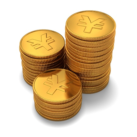 china business: 3d rendering of small group of gold chinese yuan coins on white background