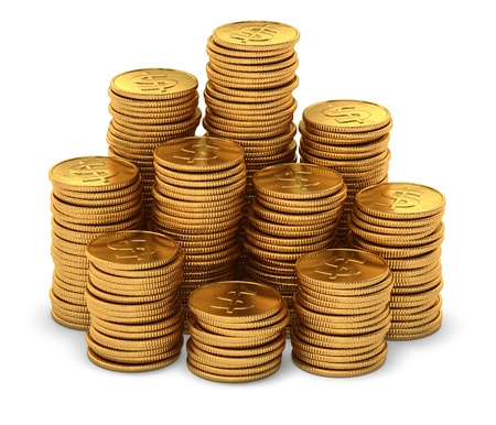 3d rendering of large group of gold usa dollar coins on white background Stock Photo - 15234979