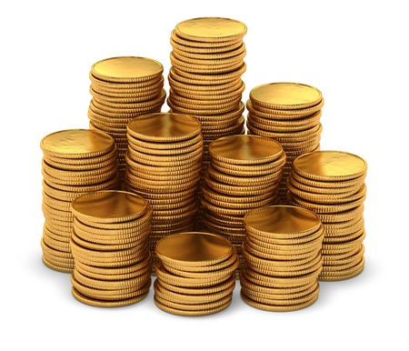 3d rendering of large group of empty gold coins on white background Stock Photo - 15234977