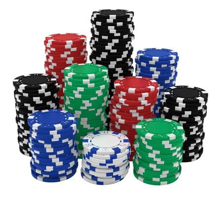 fichas casino: Renderizado 3D realistas de grandes pilas de fichas de casino de colores