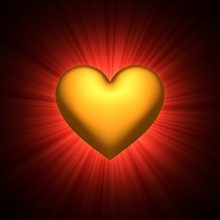 Gold heart symbol center of a red light rays background - 3D photo