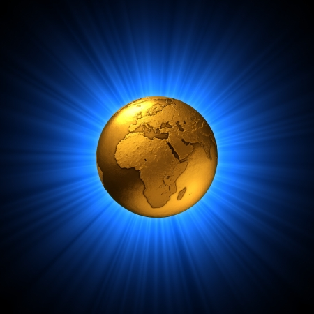 Gold globe - earth symbol shine before blue rays background 3D