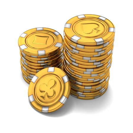 3d rendering of small stacks of gold casino chips on white background