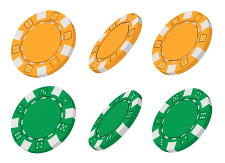 Realistic 3d rendered collection of yellow and green casino chips from different angles Stock Photo - 15236271