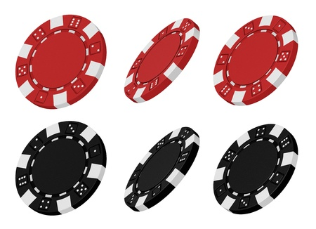 Realistic 3d rendered collection of red and black casino chips from different angles Stock Photo - 15236273