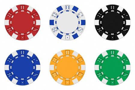 jetons poker: R�aliste 3D, rendu collection de jetons de casino color�s Banque d'images